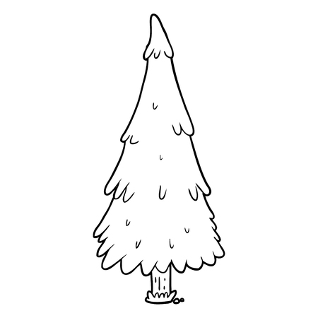 line drawing of a christmas tree Illustration