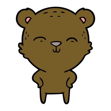 Happy cartoon bear with hands on hips vector