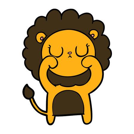 Cartoon lion with shy face vector