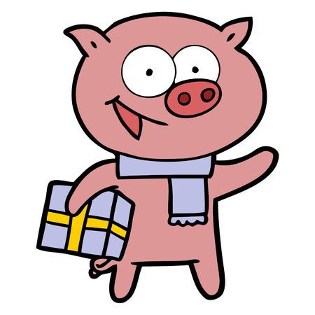 Cheerful pig with Christmas gift vector