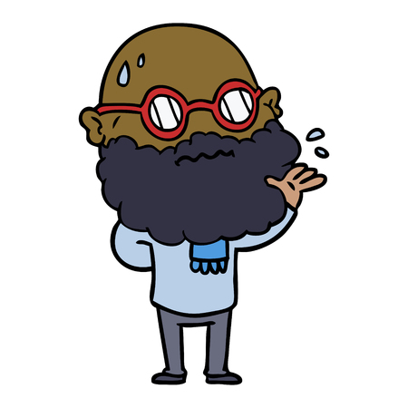 Cartoon worried man with beard and spectacles