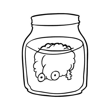 Line drawing of a spooky brain floating in jar vector