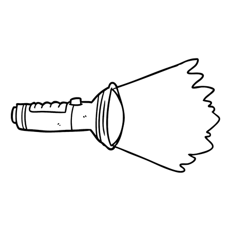 Line drawing of a electric torch shining vector
