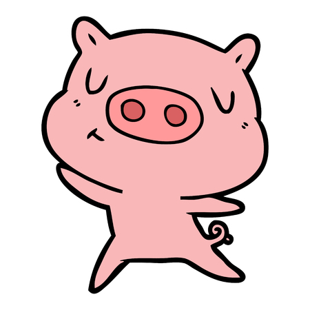 Hand drawn cartoon content pig