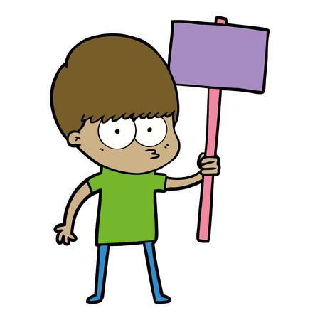 nervous cartoon boy holding placard Illusztráció