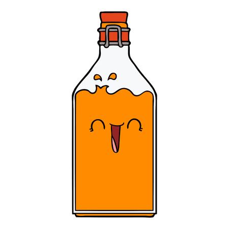 Hand drawn cartoon old juice bottle