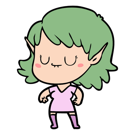 Hand drawn happy cartoon elf girl