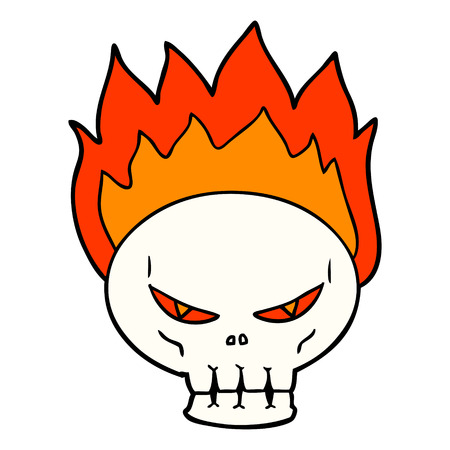 Hand drawn cartoon flaming skull