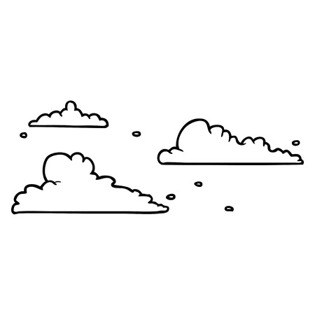 Line drawing of a clouds drifting by vector