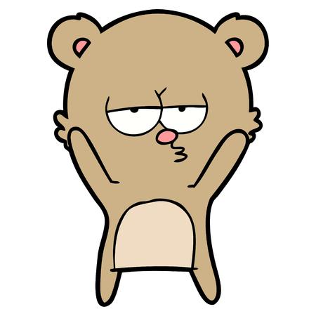 Bored bear cartoon vector Illusztráció