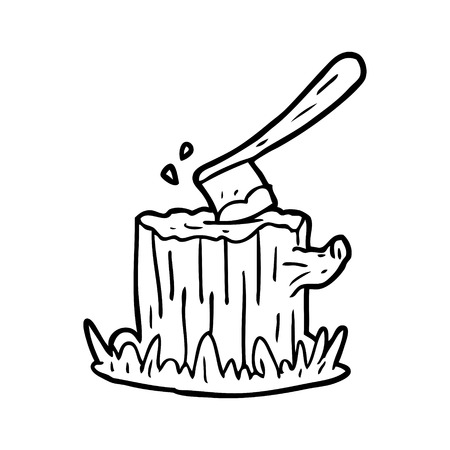 line drawing of a axe stuck in tree stump Illustration