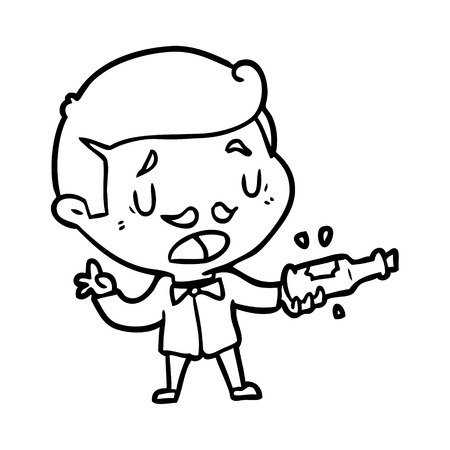 Hand drawn line drawing of a wine expert explaining