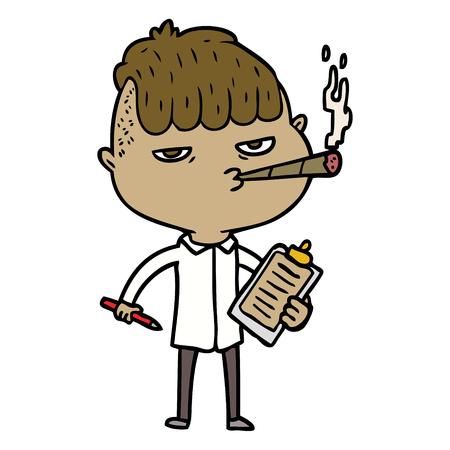 漫画セールスマン喫煙ベクトルイラスト。
