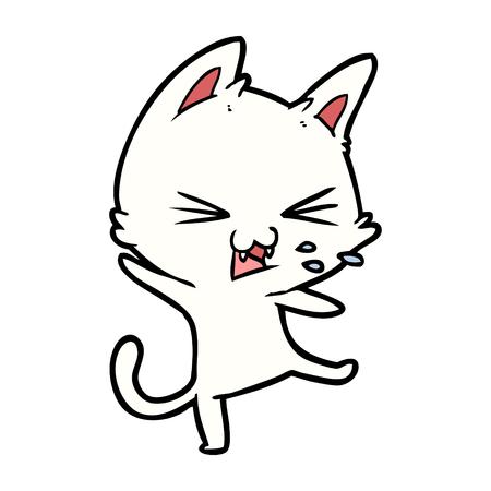 かんしゃくを投げる手描き漫画の猫  イラスト・ベクター素材