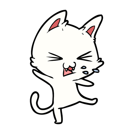 Hand drawn cartoon cat throwing a tantrum Illustration
