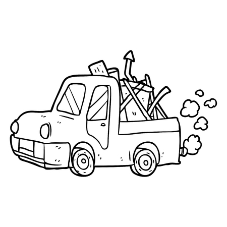 Line drawing of a old truck full of junk vector Illustration