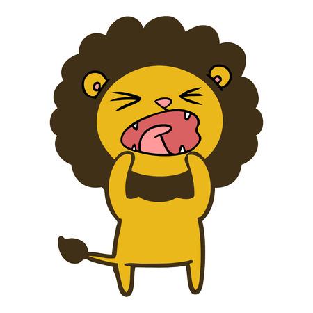 口を開いたベクトルを持つ漫画のライオン  イラスト・ベクター素材