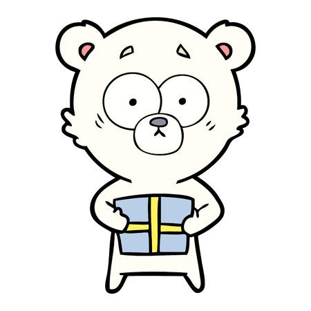 Hand drawn nervous polar bear cartoon with gift