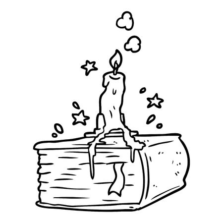 Line drawing of a spooky spellbook with dribbling candle Illustration
