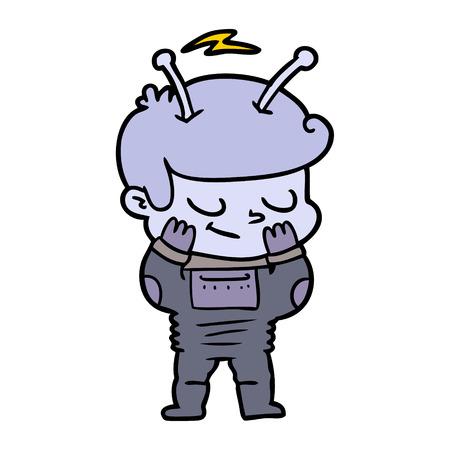 Hand drawn bashful cartoon spaceman