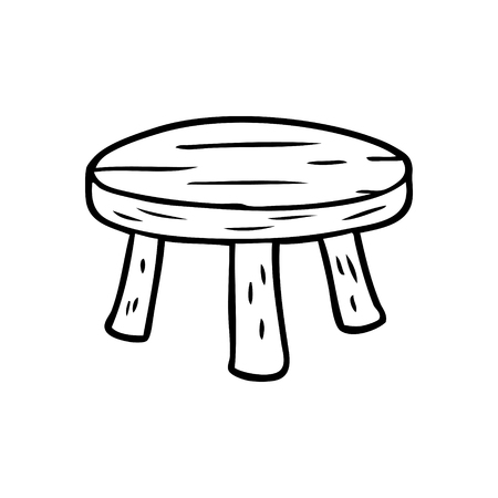 Hand drawn of a small wooden stool