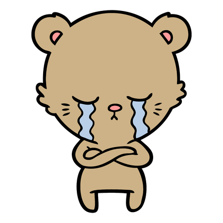 Hand drawn crying cartoon bear with folded arms
