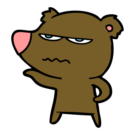 Hand drawn angry bear cartoon