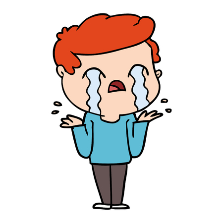 Hand drawn cartoon man crying Stock Illustratie