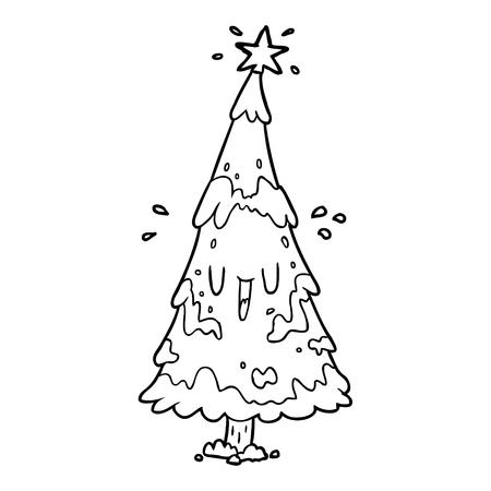 행복 한 얼굴을 가진 눈 덮인 크리스마스 트리의 선 그리기
