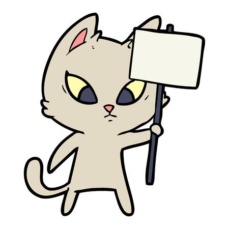 Hand drawn confused cartoon cat with protest sign Ilustração