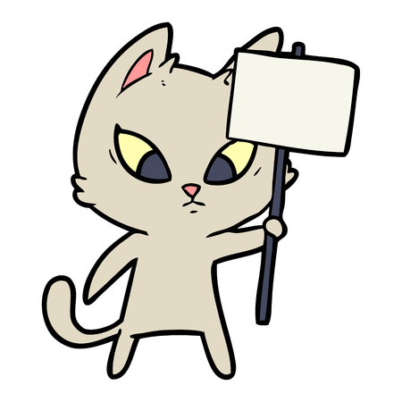 Hand drawn confused cartoon cat with protest sign Illustration