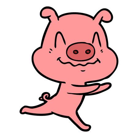 Hand drawn nervous cartoon pig running