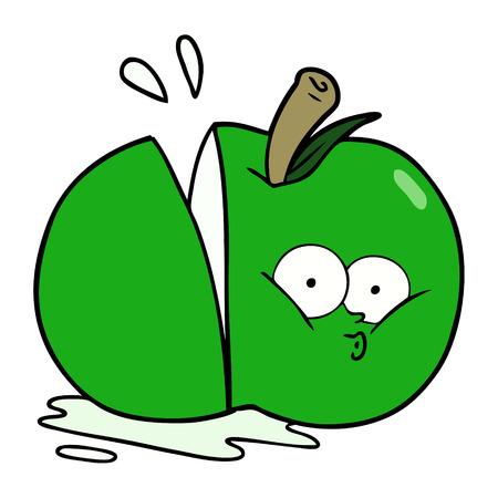 Hand drawn cartoon sliced apple