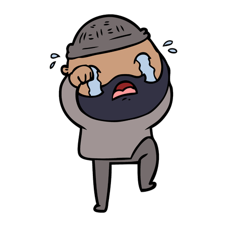 cartoon bearded man crying and stamping foot