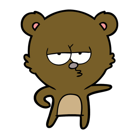 Hand drawn bored bear cartoon