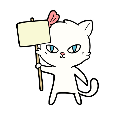 Hand drawn cute cartoon cat with protest sign
