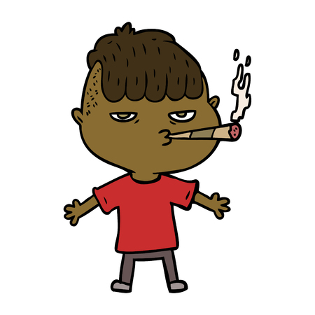 Hand drawn cartoon man smoking Illusztráció