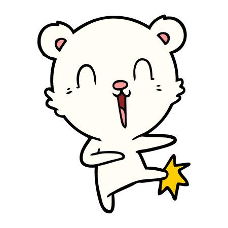 手描きの幸せな漫画ホッキョクグマキック  イラスト・ベクター素材