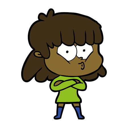 Hand drawn cartoon whistling girl