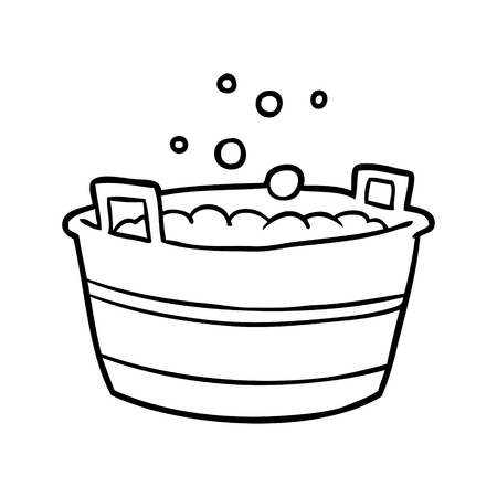 Hand drawn of a old tin bath full of water