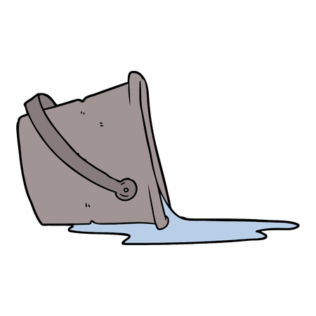 Cartoon spilled bucket of water, vector illustration