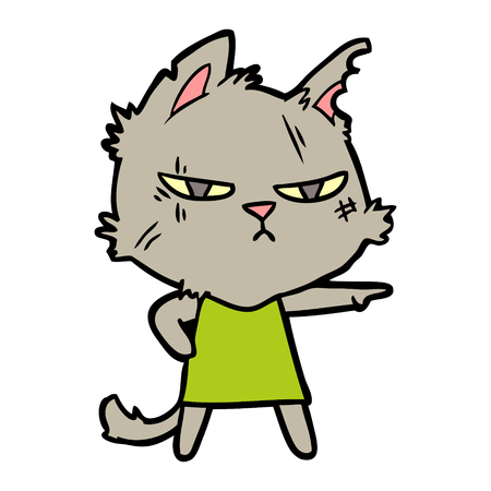 Hand drawn tough cartoon cat girl pointing Illustration