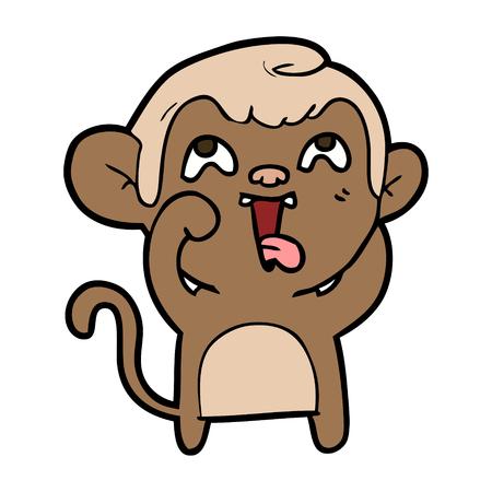 Crazy cartoon monkey, vector illustration Stok Fotoğraf - 94923841