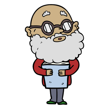 Hand drawn cartoon curious man with beard and glasses Ilustração