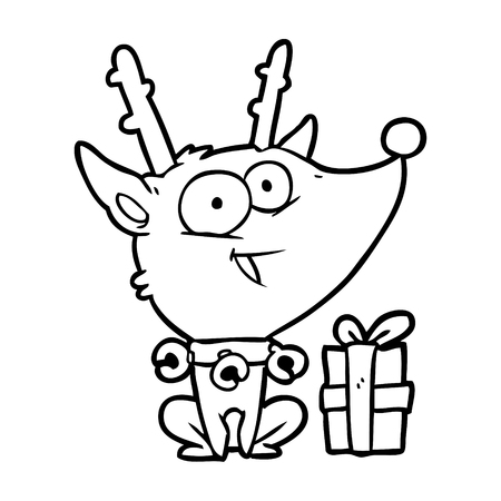 Hand drawn of a Christmas reindeer