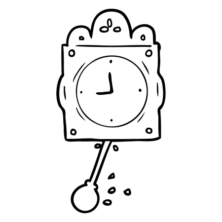 Hand drawn line drawing of a ticking clock with pendulum