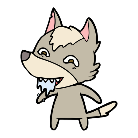 cartoon hungry wolf Vector illustration.