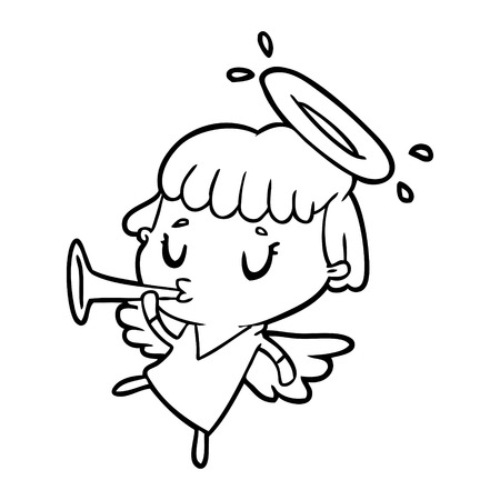 Hand drawn cute line drawing of a angel