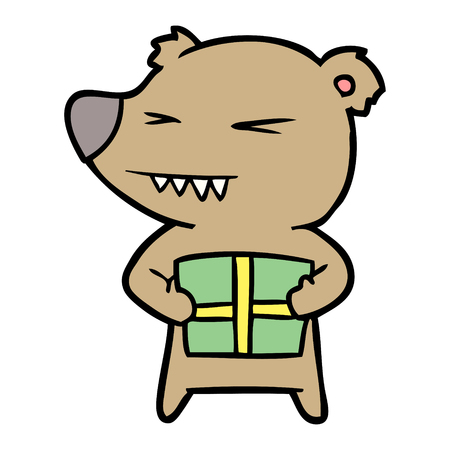 angry bear cartoon with gift Illustration