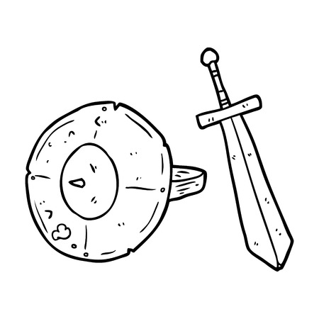 Hand drawn line drawing of a old gladiator shield and sword